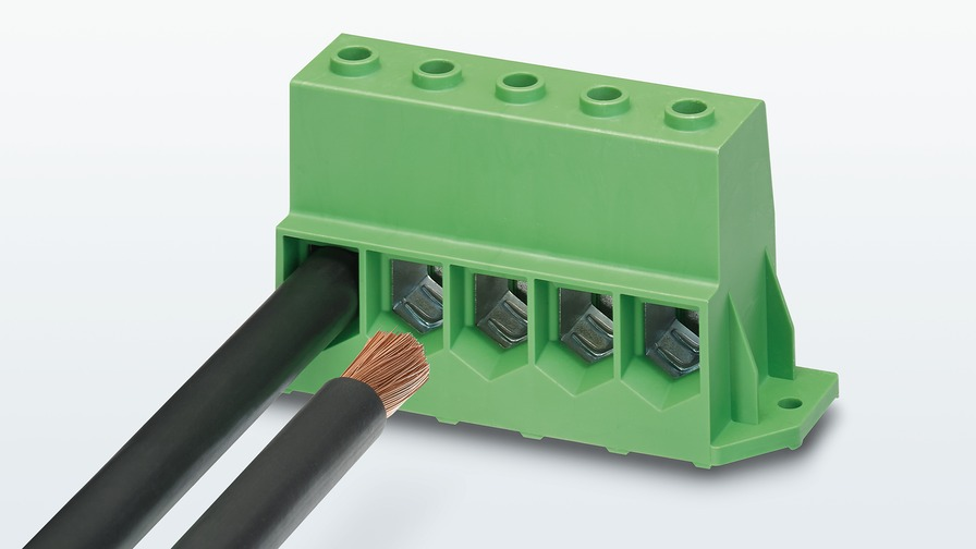 High-current PCB terminal block for power electronics