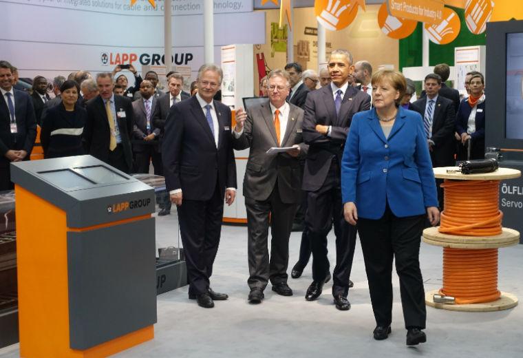President Barack Obama and German Chancellor Angela Merkel Visit Lapp's Booth at Hannover Trade Fair
