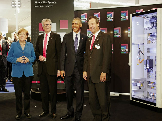 Chancellor Angela Merkel and President Barack Obama visit Rittal Stand at Hannover Messe 2016