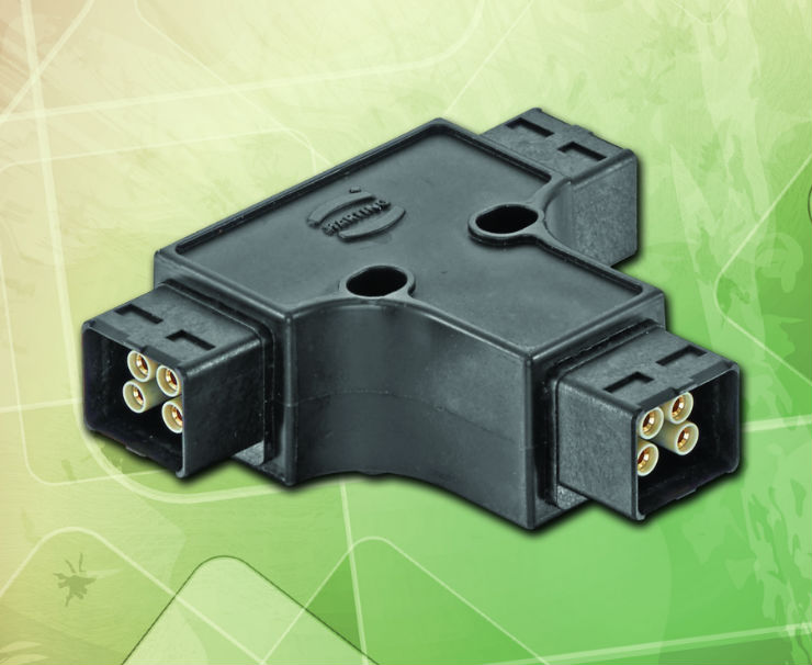 HARTING Han-Power® T distributor unit offers rapid network expansion using three PushPull Power connectors