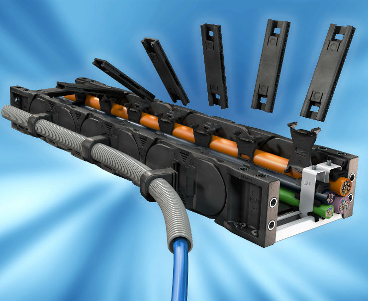 igus simplifies parallel guidance of corrugated tube with an e-chain