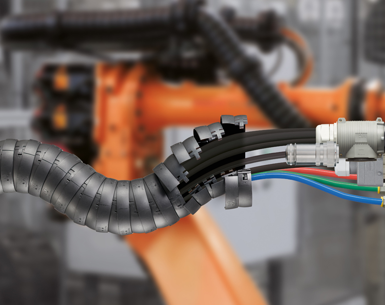 Harnessed dress-packs provide maximum cable protection for welding robots