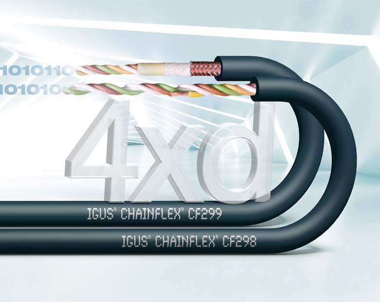 High-end chainflex series with alloy conductor and TPE outer jacket for bend radii of 4xd