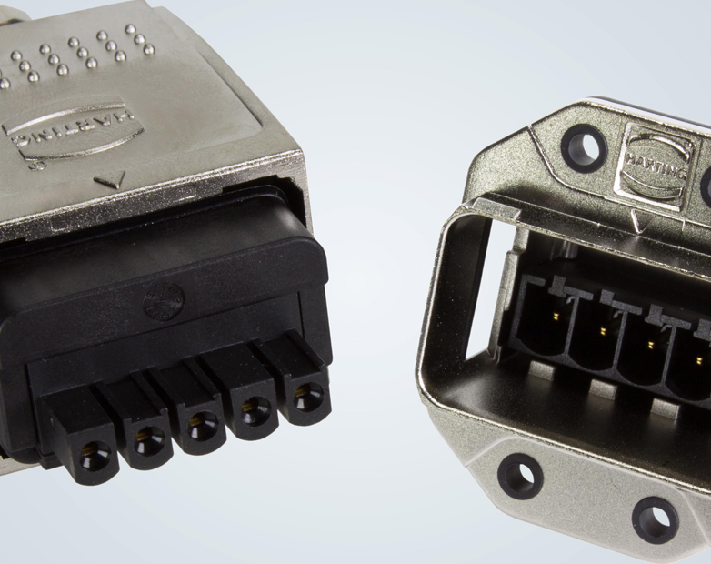 HARTING offers Han® PushPull Power L connectors in robust metal format for easy installation