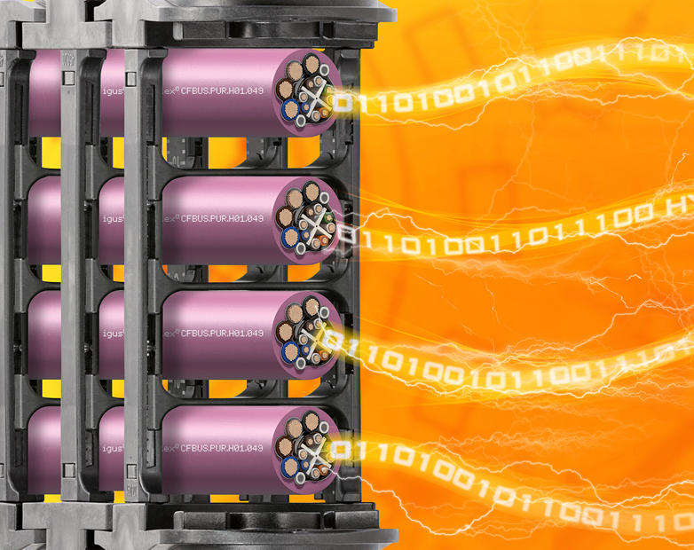 igus chainflex hybrid bus cables for Ethernet and Profinet moving applications in e-chains
