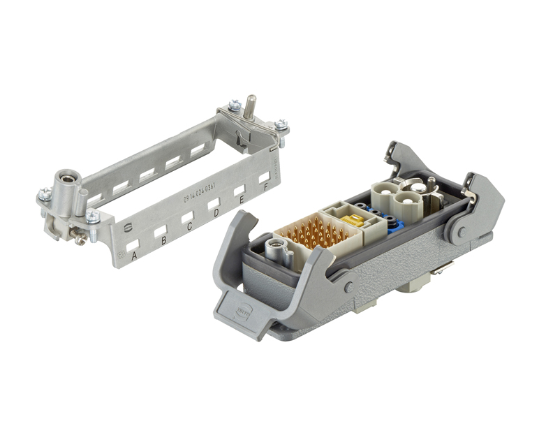 Hinged frame offers installation advantages and cost savings to modular connector system