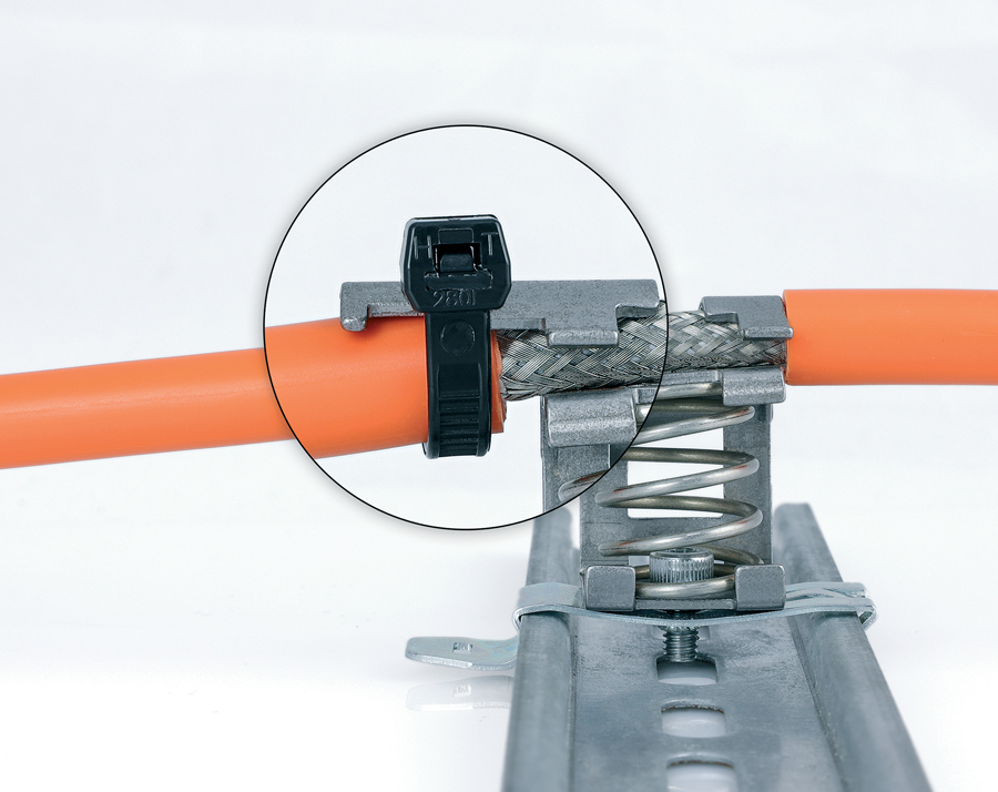 EMC spring loaded shield brackets SKZ with integrated strain relief