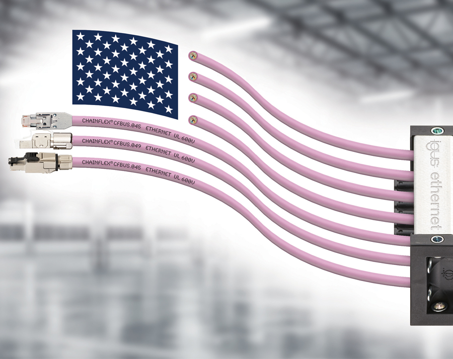 New CAT5e and CAT6 cables for use in e-chains, with approval for the American market