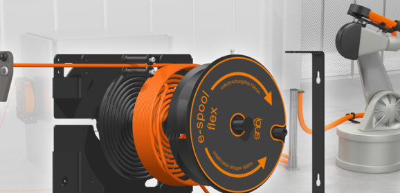 e-spool flex cable reel with spiral guide ensures more safety for control pendants and assembly areas