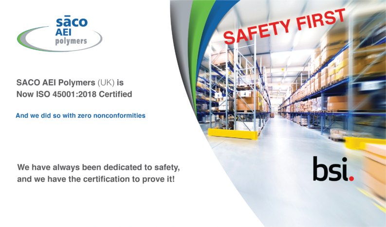 SACO AEI Polymers UK achieves ISO 45001 certification