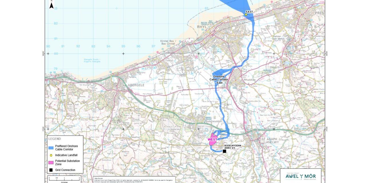 RWE-led Awel y Môr offshore wind farm outlines preferred transmission corridor